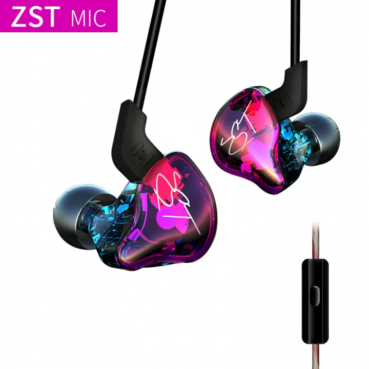KZ ZST Hifi Ring iron music headset interchangeable line design professional music headphones with mic