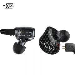 KZ ZST Hifi Ring iron music headset interchangeable line design professional music headphones Black(no mic)