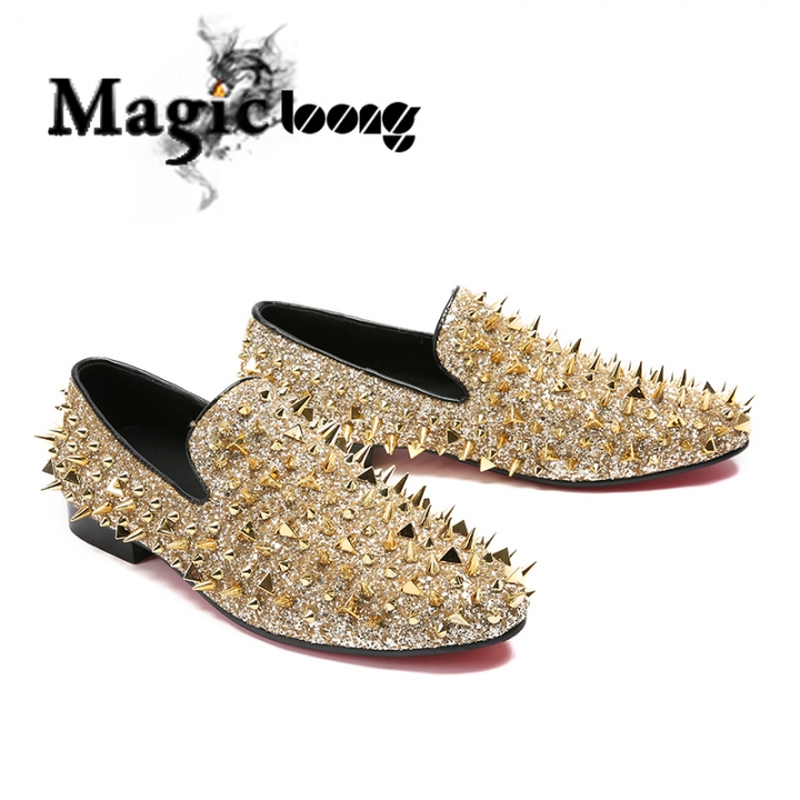c8eaadc62cb Kilimall  Fashion Gold Spiked Loafers Shoes Men Round Toe Male Slip ...