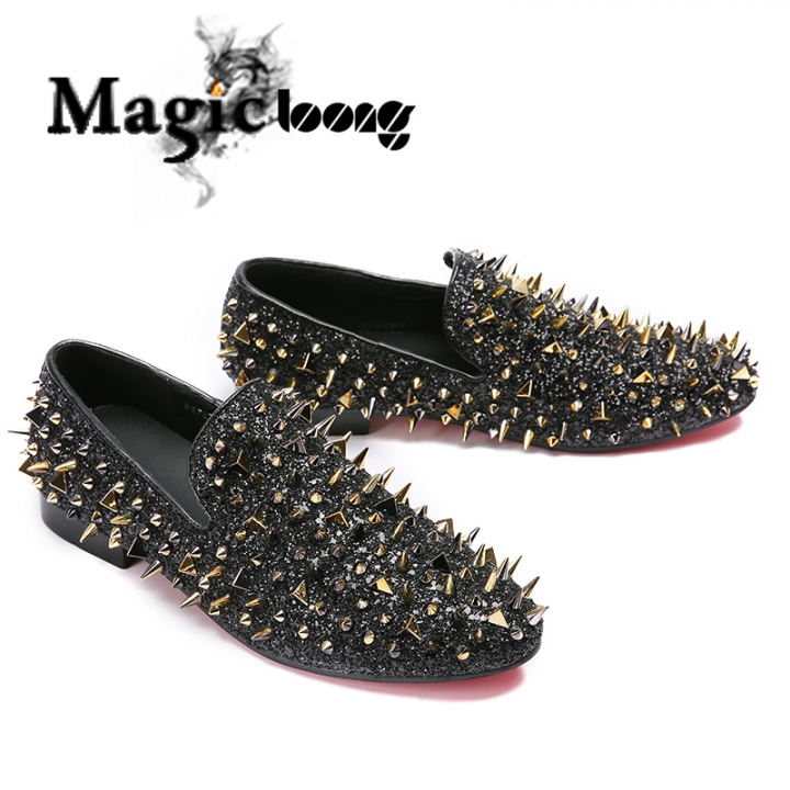2714329ec2c Fashion Gold Spiked Loafers Shoes Men Round Toe Male Slip On Rivets Men  Shoes Leather black