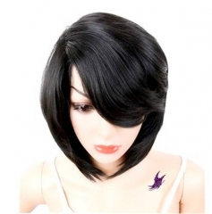 Black Short Curly Bob Synthetic Hair Wig For Women Heat Resistant Fiber Daily Full Hair Wigs black 30cm