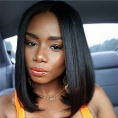Beauty Straight Short Bob Wigs 14Inch Natural Color Non Remy Hair Lace Front Human Hair Wigs Dark brown 14inches