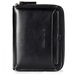 Baellerry wallet men's short leather wallet men's purse black 1 12*9.5*3