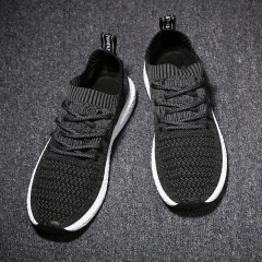 2018 nets cloth fly weaving running sports breathable fashionable men's shoes black 44