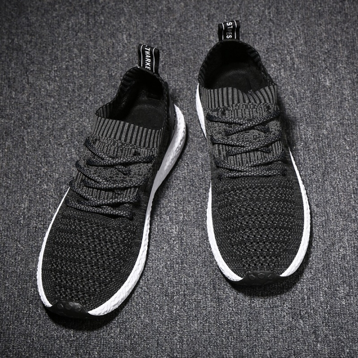 2018 nets cloth fly weaving running sports breathable fashionable men's shoes black 39