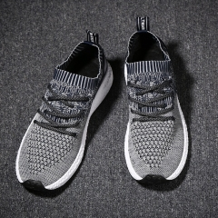 2018 nets cloth fly weaving running sports breathable fashionable men's shoes Dark grey 44