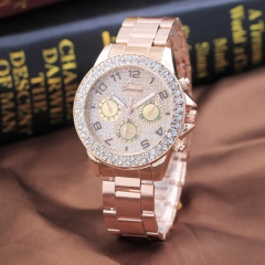 New Geneva diamond sand literally three - eye steel belt watch women's double - ring diamond watch rose gold