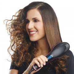 Straight Hair Straightener Comb Digital Electric Straightening Hair Dryer Brush black 220V