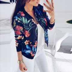 Spring Autumn Women Ladies Cardigan Long Sleeve Floral Printed Zipper Coats Casual Fashion Jackets black M