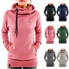 Spring Autumn Women's Long Sleeve Heaps Collar Hooded Hoodies Draw Cord Pure Color Pocket Sport Coat Pink S