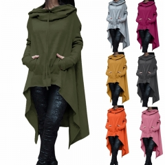 Women Poncho Coat Solid Color Long Sleeve Loose  Hooded Pullover Long Hoodies Sweatshirts S-5XL black s