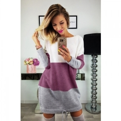 Spring Women Ladies Fashion Casual Long Sleeve Round Neck Splicing Women Loose Sweater Knitted Dress s purple