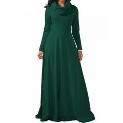 10 Color Spring Autumn Women Ladies Heap Collar Long Sleeve Side Zipper Maxi Long Dress Scarf Dress xxl jasper