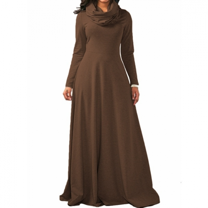 10 Color Spring Autumn Women Ladies Heap Collar Long Sleeve Side Zipper Maxi Long Dress Scarf Dress s brown