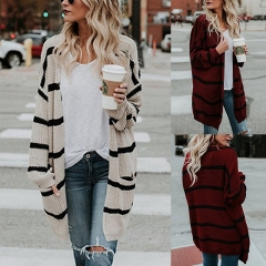 2018 New Spring Autumn Women Ladies Long Sleeve Casual Striped Knitted Sweaters Cardigan Coats red s