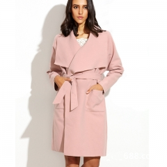 1PCS Autumn Winter Women Ladies Fashion Casual Long Sleeve Pure Color Overcoat Woollen Coat pink s