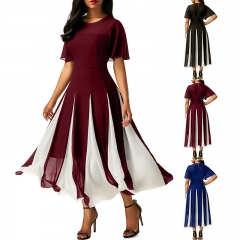 Spring Summer Fashion Dress Women Ldies Bawting Sleeve Splicing Casual Long Chiffon Dress s black