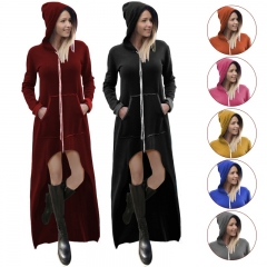 Women Fashion Solid Color Draw Cord Coat Long Sleeve Fit  Hooded Pullover Long Hoodies Sweatshirts black s