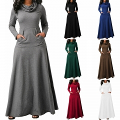 Women Heaps Collar Long Sleeve Pocket Pure Color Slim Waist Big Hem Dress Maxi Party Long Dress s grey
