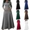 Women Heaps Collar Long Sleeve Pocket Pure Color Slim Waist Big Hem Dress Maxi Party Long Dress s grey