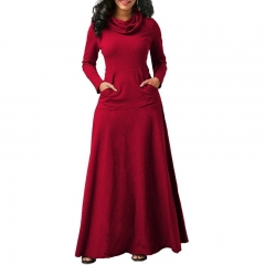 Women Heaps Collar Long Sleeve Pocket Pure Color Slim Waist Big Hem Dress Maxi Party Long Dress xl red