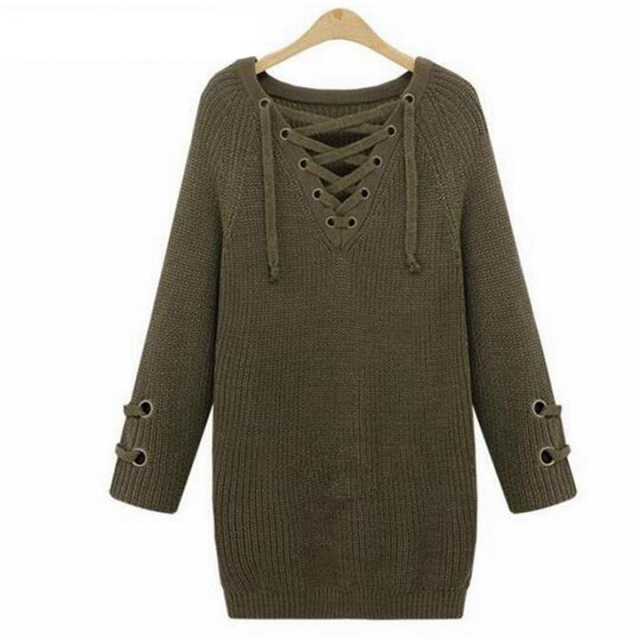 4ea76d1608b Kilimall  Women Long Sleeve Deep V-neck Casual Bandage Sweater ...