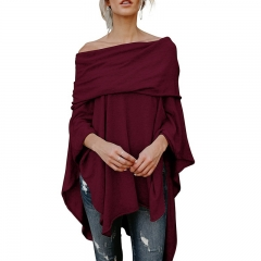 Women Fashion Pure Color Sexy Boat Neck Batwing Sleeve Irregular Knitwear Casual Loose Tops T-shirts wine red xl