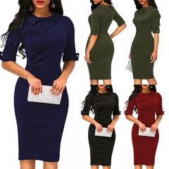 1PCS Women Ladies Solid Color Half Sleeves Elegant Office Lady Overhip Knee Length Pencil Dress s black