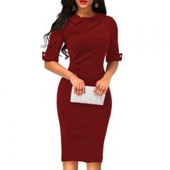 1PCS Women Ladies Solid Color Half Sleeves Elegant Office Lady Overhip Knee Length Pencil Dress xl wine red