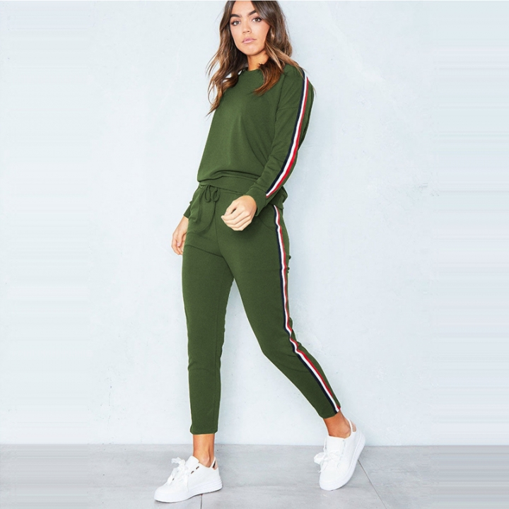 5ac771a2054 2PCS Suits Fashion Women Clothes Long Sleeve Tops + Long Pants Casual Pure  Color Sports Runing