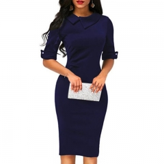 1PCS Women Ladies Solid Color Half Sleeves Elegant Office Lady Overhip Knee Length Pencil Dress m blue