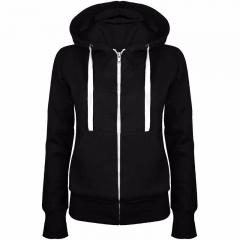 1PCS Women Ladies Fashion Casual Long Sleeve Pure Color Hooded Zipper Coat Hoodies Coat black m