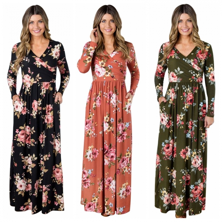 Spring Autumn Women Dresses Fashion Long Sleeve Sexy V Neck Floral Printed Slim Long Dresses s black