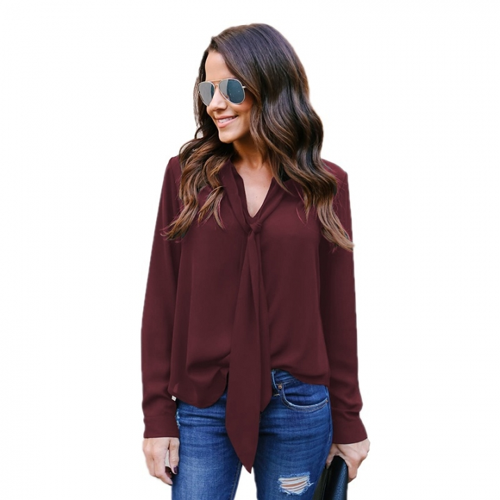 Spring Summer Women Ladies Fashion Sexy V Neck Long Sleeve Pure Color Women Chiffon Blouse Tops wine red l