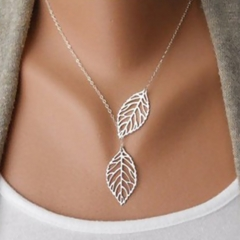 Women Ladies Fashion Accessories Leaf Necklace Double Leaf Clavicle Chain Female Accessories Silver One Size