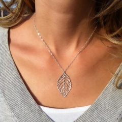 Women Ladies Fashion Accessories Leaf Necklace Double Leaf Clavicle Chain Female Accessories Silver 1 One Size