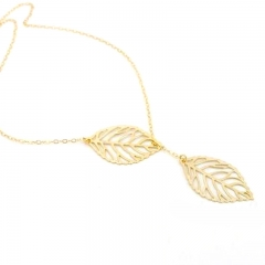 Women Ladies Fashion Accessories Leaf Necklace Double Leaf Clavicle Chain Female Accessories Gold One Size