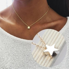 Women Trendy Simple Style Five-pointed Star Pendant Clavicle Chain Necklace silver one size