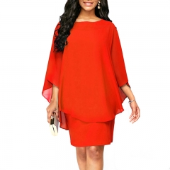 Plus Size Women Ladies Fashion Chiffon Dress Casual Hlaf Sleeve Pure Color Irregular  Elegant Dress s orange