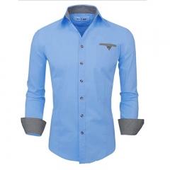 1PCS Men Shirts Spring Casual Long Sleeve Lapel Collar Fashion Pocket Tops Shirt Men Blouse Dark Blue S