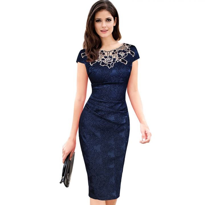 2ac63b628afc Fashion Elegant Professional Dress Women Ladies Casual Short Sleeve Slim  Pencil Dresses M Navy Blue