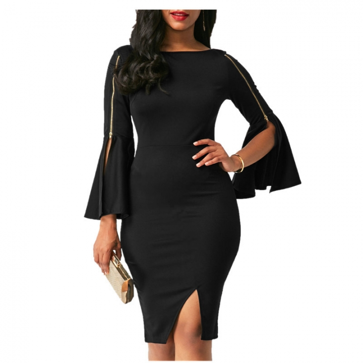 c4fde8a965b Spring Summer Women Ladies Fashion Dresses Casual Floucing Sleeve Pure Color  Sexy Slit Pencil Dress S