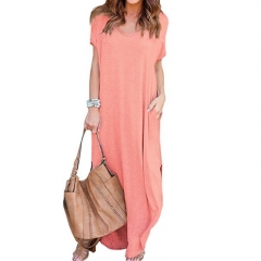 Women Ladies Summer Soild Color Short Sleeve Loose Casual V Neck Split Baggy Pocket  Full Dresses XL Pink