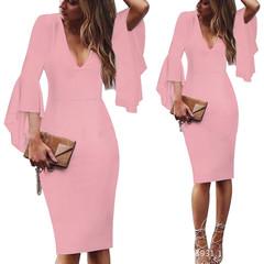 Women clothes Fashion Flare Sleeve Pure Color Slim Pencil Dresses Office Dresses Plus Size S-5XL S Pink