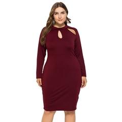 Spring Summer Women Ladies Fashion Long Sleeve Pure Color Slim Pencil Dresses Stretchy Dresses L Burgundy