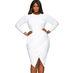 Spring Summer Women Ladies Fashion Long Sleeve Slim Pure Color Fashion Dressess L White