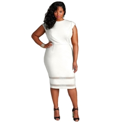 Summer Women Ladies Fashion Short Sleeve Round Neck Pure Color Splicing Dresses XL White