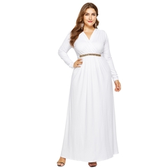 Spring Summer Women Ladies Fashion Long Sleeve Deep V Neck Pure Color Slim Loose Fashion Dresses M White