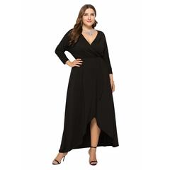 Spring Summer Women Ladies Fashion Sexy Deep V Neck Long Sleeve Pure Color Slim Stretchy Dresses XL Black