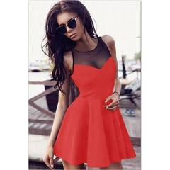 Women Fashion Mesh Splicing Sleeveless Princess Dresses Sexy Cocktail Party Short Mini Pleated Dress S Red